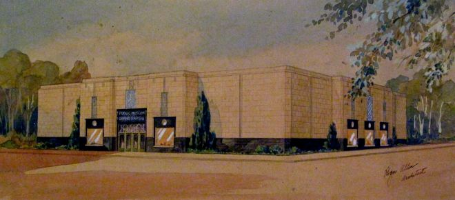 Grand Rapids Public Museum Watercolor by Roger Allen, Architect