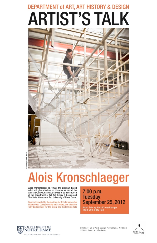 Alois Kronschlaeger Artist Talk University of Notre Dame